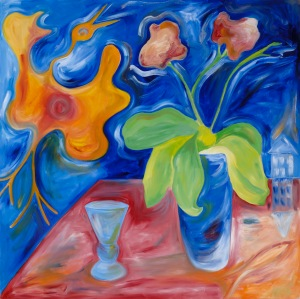 Bird and Orchid # 1 - 2013 Oil on canvas. 48