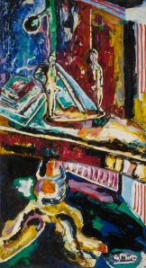 "Books on Table - 1985 Oil on canvas. 37"" x 68"""