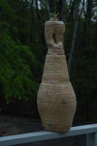 "Flying Bird -2009 Terra cotta clay, coil construction, glaze. 12"" x 36"""