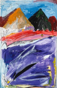 Love the Ocean and Mountains - 2002 Acrylic on paper. 24