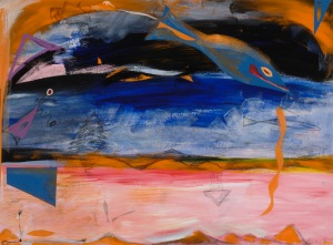 Mountains in Vermont - 1999 Acrylic, collage, pencil on Arche paper.