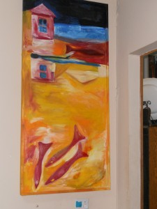 "My Husband is Sinking - 1999 Oil on canvas. 29"" x 62"""