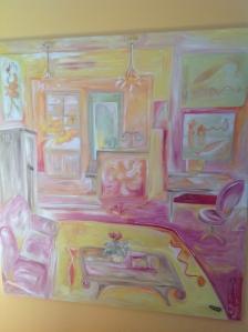 "My Studio - 2013 Oils, buttons, thread on canvas. 36"" x 49"""