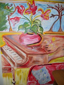 "Orchid on Piano - 2011 Oils on canvas. 36"" x 48"""