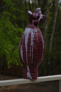 "Purple Vase - 2009 Terra cotta clay, coil construction, glaze. 12"" x 25"""