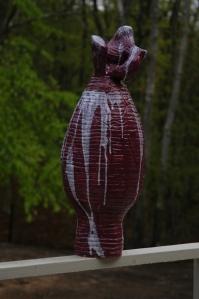"Purple Vase - 2009 Terra cotta clay, coil construction, glaze. 12"" x 25"""