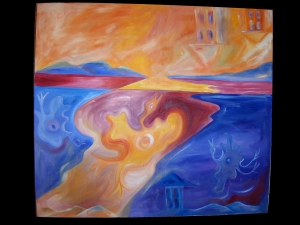 "Sinking Hole - 2013 Oil on canvas. 46"" x 41"""